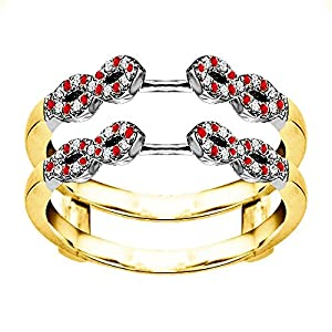 0.38CT Diamond and Ruby Infinity Ring Guard Enhancer set in Two Tone Sterling Silver (0.38CT TWT G-H I2-I3 Diamonds and Ruby)
