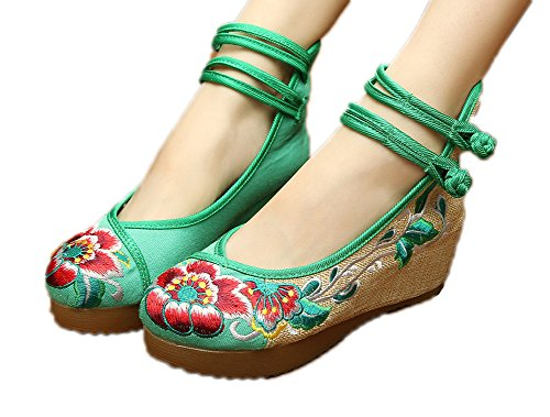 AvaCostume Women's Embroidery Floral Strappy Round Toe Platform Wedges Cheongsam 40 Green