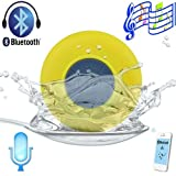 Patuoxun Waterproof Portable Wireless Bluetooth 3.0 Mini Speaker Shower Pool Car Handsfree Mic for Apple iPhone - 4/4S,iPhone5/5S, iPad iPod Sumsang Galaxy S4, Note3,Tablet PC/Other Bluetooth Moblie Phone - Yellow(You can use it in your bathroom, bedroom