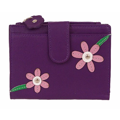 Mala Leather Blossom Ladies Purse/Wallet - Purple