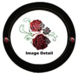 Beautiful Red Roses w/ Small White Roses Floral Gem Crystal Studded Rhinestone Bling Car Truck SUV Steering Wheel Cover