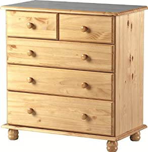 Sol Solid Antique Pine 3+2 Drawer Chest   Delivery To UK Mainland and Ireland       Customer reviews and more info