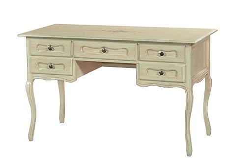 Tavolo scrivania in legno con decoro L130x60x79H