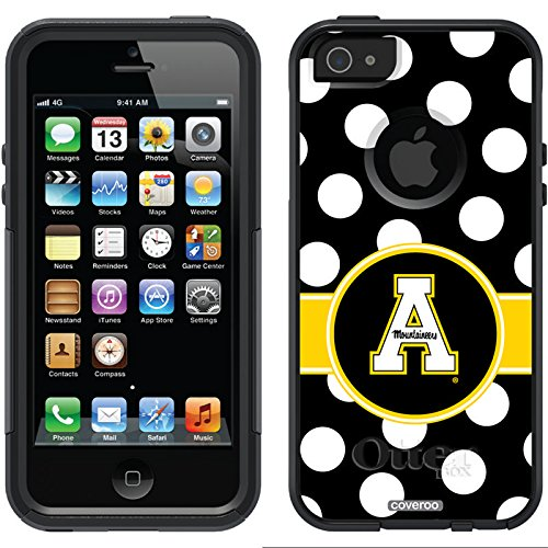 Appalachian State Polka Dots Design On A Black Otterbox® Commuter Series® Case For Iphone 5S / 5