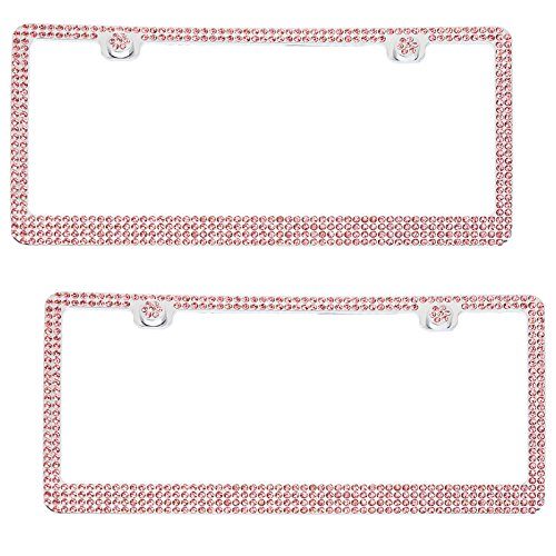 Bling Rhinestone Automotive License Plate Frame w/4 Crystal Rows (Pink, 2 Pack) (License Plate Frame Studded compare prices)