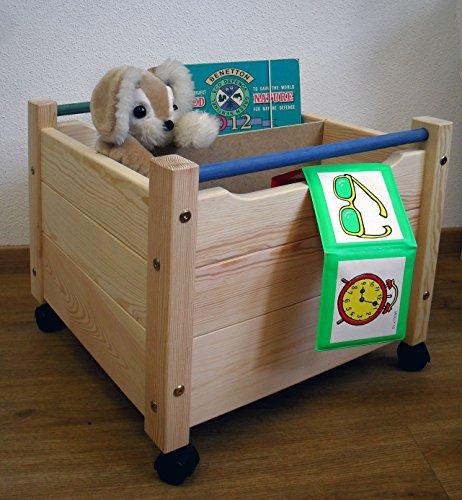 Holz-Spielzeugkiste auf Rollen, Massivholz mit Bio ...