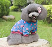 eSingyo Coat Jumper Soft Velvet Dots Small Pet Dog Clothes Sweaters Blue S