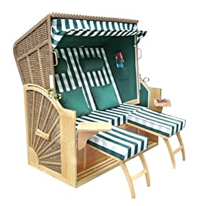 benedomi fauteuil cabine de plage strandkorb 2 places en bois dur motif rayures vert blanc. Black Bedroom Furniture Sets. Home Design Ideas