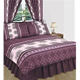 Matching Bedrooms Double Duvet Cover Set With Valance and Curtains, Purpleby Matching Bedrooms Set Ltd