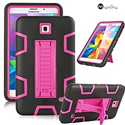 Galaxy Tab 4 7.0 Case, Magicsky 3in1 Heavy Duty Hybrid Shockproof Armor Kickstand Case For Samsung Galaxy Tab 4 7.0 T230 /T231/ T235 Galaxy Tab 4 Nook Cover - Hot Pink/Black
