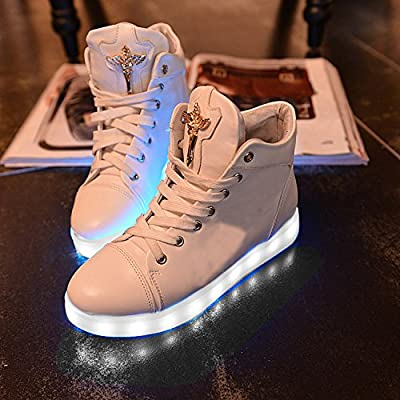 New Women LED Light Luminous Sneaker High Top Lovers Athletic Shoes USB Charge