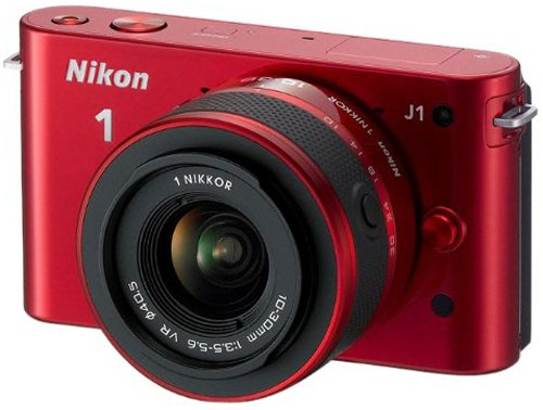 Nikon 1 J1 Compact System Camera with 10-30mm Lens Kit - Red (10.1MP) 3 inch LCD