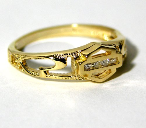 Harley-Davidson® Stamper® Women's 10K Yellow Gold Diamond Ring (.04 cttw), Sculpted Hearts. R7383D