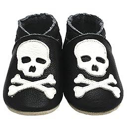 Mejale Baby Boy Shoes Soft Soled Leather Moccasins Skull Infant Toddler Pre-walker(6-12 months,black)