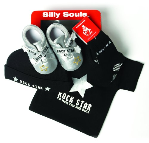 Silly Souls Rock Star 4-Piece Baby Gift Set, Black, 3-6 Months