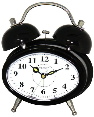 Oval Double Bell Melody Alarm Clock In Glossy Black