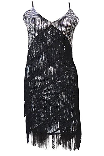 Vijiv Vintage 1920s Flapper Sequin Charleston Cocktail Party Dance Dress