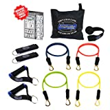 Bodylastics 11 pcs Resistance Bands *BASIC TENSION Set (58 lbs.) with 4 anti-snap exercise tubes, Heavy Duty components, and carrying case