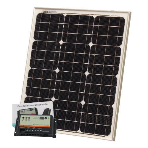 40W 12V Photonic Universe dual battery solar charging kit made of BOSCH solar cells, with 10A charge controller and 5m cable