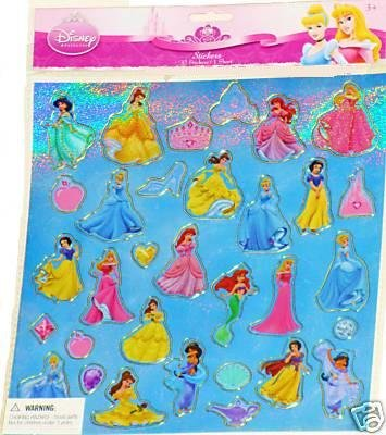 Disney Princess Blue Glitter Stickers