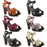 NEW LADIES CHUNKY WOOD EFFECT BLOCK HIGH HEEL SHINY PATENT SUMMER SANDALS SHOES