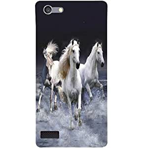 Casotec Mystic Horse Design 3D Hard Back Case Cover for Oppo Neo 7