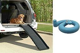 Ultralite Bi-Fold Dog Ramp with Blue Springy Snake Toy