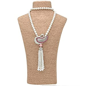 Wild Wind (TM) Pearl Strands Crystal Swan Pendant Tassel Necklaces (Red)