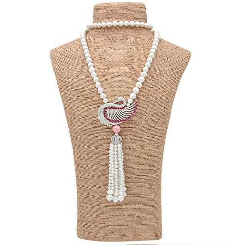 Snowman Lee Single Natural Diamond Swan Crown Cultured Pearl Necklace Sweater Chain (pink) (Black Swan Eye Make Up)