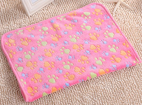 Coco*Store Various Size Pet Warm Paw Print Dog Puppy Cat Pig Fleece Soft Blanket Beds Mat (S, Pink)