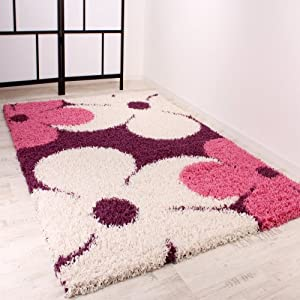 Shaggy Rug High-Pile with Lilac / Pink / Cream Floral Pattern by PHC