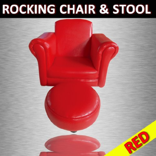 RED KIDS CHILDRENS BEDROOM LIVING ROOM FURNITURE LUXURY PU SOFA COUCH ROCKING CHAIR WITH FREE STOOL