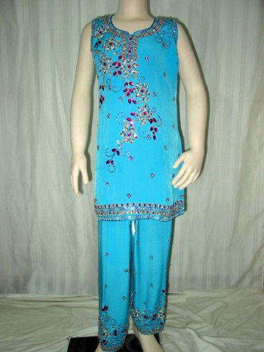 Ethnic Party Wear- Baby Blue Embroidered Girls Wear Salwar Kameez with Dupatta