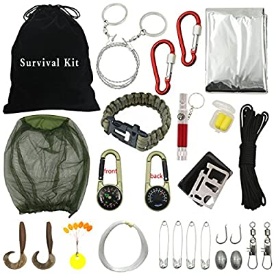 Sportsun Outdoor Survival Kits with Emergency Equipment for Hikers Campers and Survivalist, Lightweight, Small and Easy to Carry 18 Different Accessories