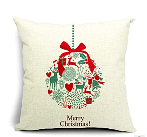 Beety P57 Merry Christmas Gifts - Snow Small Bell Home Cotton Linen Throw Pillow Case Cushion Cover Home Sofa Decorative 18 Inch Square