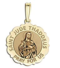 Saint Jude Scalloped Religious Medal 10K And14K Yellow or White Gold, or Sterling Silver