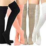 Teehee Women's Fashion Extra Long Pointelle Cotton Thigh High Socks - 4 Pairs Pack (Black-Ivory-Taupe-Peach)