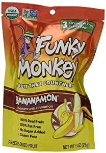 Funky Monkey Snacks Bananamon, Banana with Cinnamon, Freeze-Dried Fruit, 1-Ounce Bags (Pack of 12)
