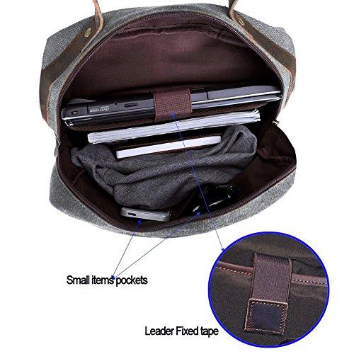 """Canvas Backpack, P.KU.VDSL Laptop Backpack, Vintage Canvas Backpack, Casual Daypacks, Retro Rucksack, Travel Bags, Genuine Leather Shoulder Bag for Men Outdoor Sports Recreation Fit 15"""" Laptop 5"""