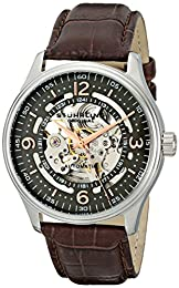 Stuhrling Original Legacy Delphi Denmark Men's Automatic Watch with Grey Dial Analogue Display and Brown Leather Strap 730.02