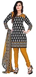 Fashions World Fancy Black and White Crepe Dress Material