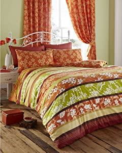 King Size Duvet Cover Set With Matching Curtains Amber Lime Oriental Flower
