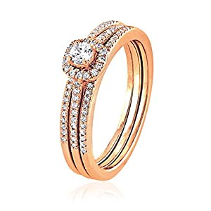 0.31 CT. Natural Diamond Bridal Collection 18K Rose Gold Engagement Ring Set With Matching Wedding Band
