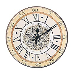 Accmart Retro Vintage Wall Clock Hanging Numeral Clock for Home Hotel Decorative(Large:13.4inch)