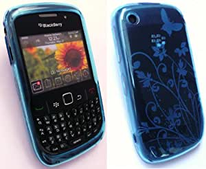 EMARTBUY BLACKBERRY 8520 CURVE / 9300 CURVE 3G FLORAL GEL SKIN COVER/CASE LIGHT BLUE + SCREEN PROTECTOR