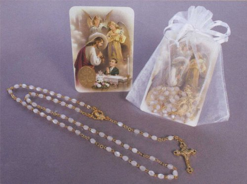 First Communion Remembrance - Gold Plated Rosary in White Gift Package with RCC Holy Gift Card for Boy