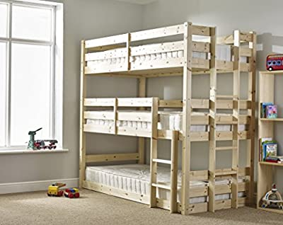 3 Tier Triple Bunkbed with THREE mattresses - 3ft Single Triple sleeper Bunk Bed - VERY STRONG BUNK - Contract Use - heavy duty use