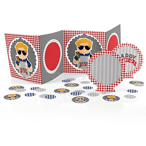 Big Dot Of Happiness - Daddy Baby-Q - Caucasian Blond - Man Shower Table Decorating Kit