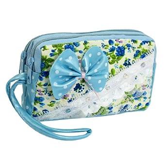 Lady Flower Print Bowtie Decor Zip Up Wallet Purse Bag Coins Holder Light Blue