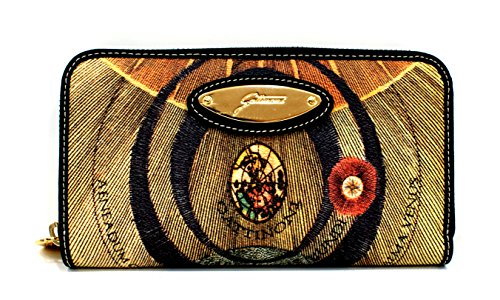 Gattinoni Portafogli Donna Wallet Zip Around Placca Oro Cm 19x11x2 Multicolore